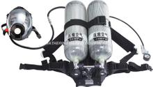Double cylinders self-contained positive pressure air breathing apparatus